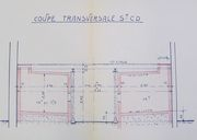 Transformation du cuvier, solution A, plans et coupes, par Michel Garros, 20 mai 1960, détail de la coupe transversale.