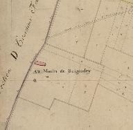 Extrait du plan cadastral de 1833, section F2 : Au Moulin de Seignadey.