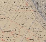 Extrait de l'Atlas de la Gironde, 1888 : indication du phare de Richard.
